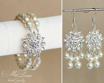 Pearl Bridal Jewelry Set, Pearl Wedding Jewelry Set, Rhinestone Wedding Jewellery set, Rhinestone Bridal Jewellery set  art. e06-b14