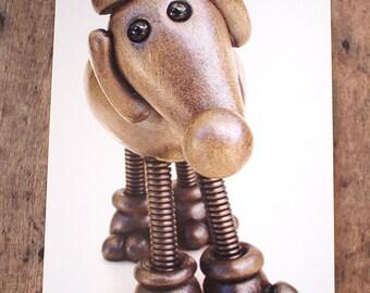 Robot Dog SILVER Art Print Postcard