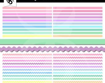Digital Clipart Borders-Pretty Pastels Borders-Clipart Elements-Zig Zag-Ric Rac-Digital Borders-Scrapbook Elements-Instant Download Clip Art