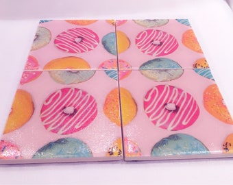 Set of 4 handmade ceramic coasters - doughnut design