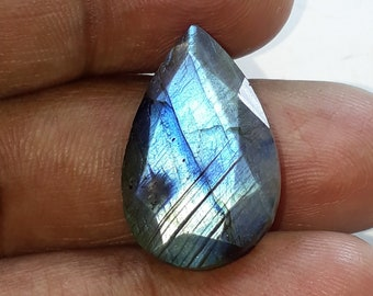 1 pice,natural faceted labradorite gemstone, blue flash, faceted cut stone, pear shape,AAA quality, size 16x25x6 mm loose gemstone,17.00 cts