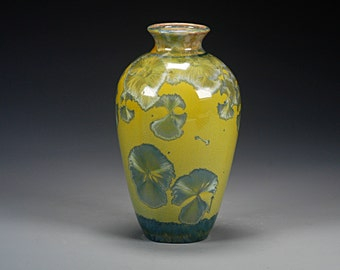 Porcelain Vase - Green - Crystalline Glaze - Hand Made Pottery - FREE SHIPPING - #A-5205