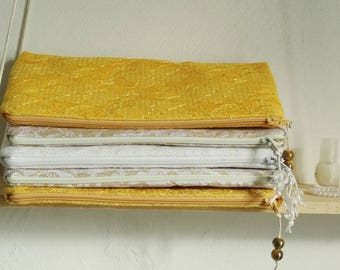 Bridal Lace Clutch Gold Yellow White Wedding Purse Bride to be Bag