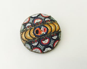 Micromosaic Glass brooch, round floral glass mosaic brooch