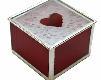 Stained Glass Box With Frosted Heart Design In Red