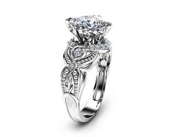 Cushion Cut 2 Carat Moissanite Ring 14K White Gold Engagement Ring Filigree Styled Ring Unique Cushion Cut Ring