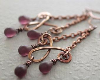 Matte amethyst copper chandelier earrings with Czech glass teardrops - Copper earrings - Long earrings - Boho earrings - ER054