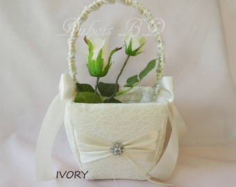 Wedding basket, Ivory basket, Lace basket, Wedding decoration, Flower girl basket, White basket