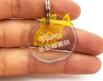 Médaillon pour chien ou chat bocal à poisson - médaille d'identification - aquarium - plexiglass transparent - lasercutting