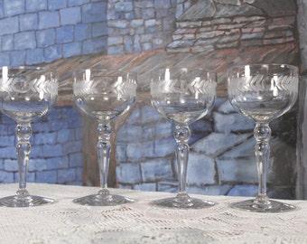Glastonbury Lotus Wein Champagner Glas Lorbeer Kranz Stamm #37 Schnitt Punkten, grau Schnitt Laurel 4er Set 37-9 Jahrgang Hochzeit Toast