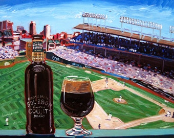 Bourbon County Brand Stout, Chicago Cubs Baseball and Beer Art, Wrigley Field, Goose Island, Art for Men, Gift for Husband, Beer Bar Poster