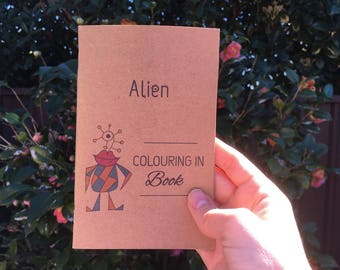 Alien colouring in book