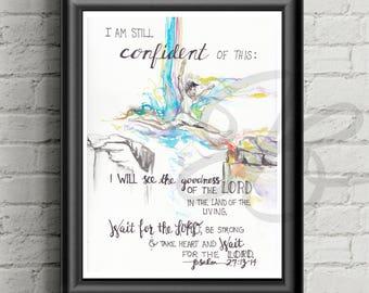 Psalm 27 13 14, confidence, canvas, canvas print, Bible verse art, Bible verse canvas, wall art, Scripture, Girl Reaching, Wood Panel, Cards