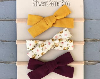 Fall baby bow, hand tied bow, baby girl headband, nylon headband, baby girl bow, baby bow headband, school girl bow, baby hair bow