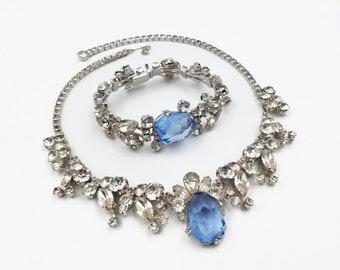 Weiss Crystal Rhinestone Bridal Jewelry Set - Wedding Bracelet, Wedding Necklace, Perwinkle Blue, Art Glass Cabochon, Something Blue