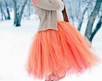 Orange Creamsicle - Layered Retro Style Tulle Skirt - Half poof Sewn Tutu - your choice of size and length - Peach over Red