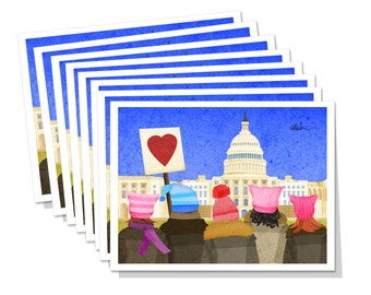 Women's March on Washington DC 8 piece Note Card Set