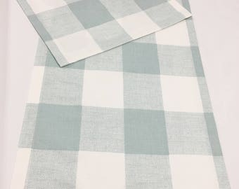 Buffalo Check table runner. holidays weddings party designer fabric Snowy Blue White 12 x 72 table runner topper Farmhouse table runner.