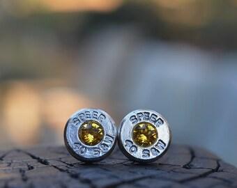 Stud boucles d'oreilles puce ou post, nickel argent Speer.40 S & W avec des pierres de naissance Swarovski Citrine novembre