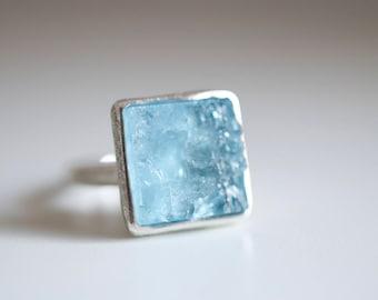 Aquamarine ring. Sterling silver ring with natural Aquamarine crystal. Aquamarine, Aqua crystal, raw aquamarine ring. Aqua ring, statement.