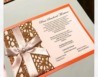 Coral and Gold Lace Invitations