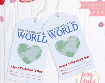 Valentine's Day Tags - valentine's gift tag - personalized printed tags Valentine's Favor Hang Tag - Out of this World Valentine