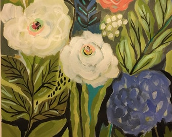 Flower Painting with Hydrangea Flowers Painting on 18 x 24 Paper by Karen Fields