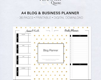 A4 Gold & Black Blog and Business Planner Printable for download