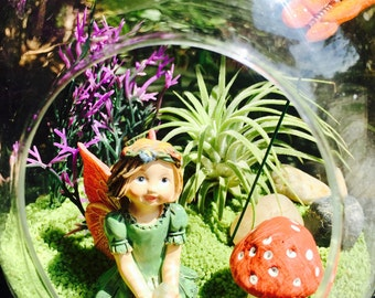 Fairy Garden Terrarium Kit - Small Bullet Air Plant Terrarium Kit ~ Fairy Garden Kit ~ Fairy Choice ~ Miniature Garden Kit ~ Gift Idea