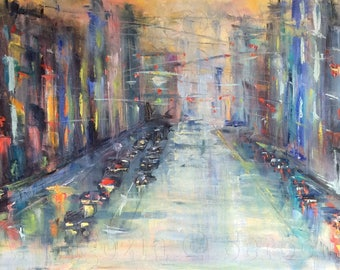 """City Lights Abstract City Painting Original Oil Painting 24 x 48"""""""