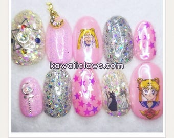 Pink Sailor Moon Magical Girl Glitter Holo Gel Nail Art Press on false fake nails