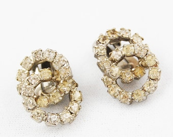 Vintage Clip On Rhinestone Interlocking Circle Earrings