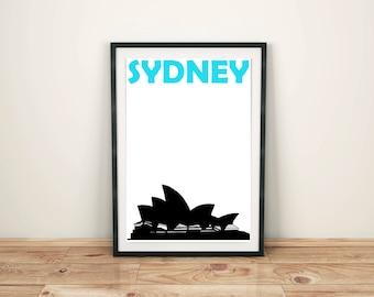 Sydney Print // Australia Print // Sydney Poster // Australian Art // Sydney Art // Australian Gift // Australia Poster // Sydney Skyline