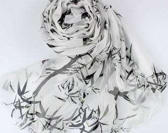 Floral Silk Scarf - Floral Printed Silk Chiffon Scarf - White Silk Scarf with Floral Print - AS2017Q