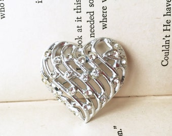 Silver Heart Pin, Silver Heart Brooch, Rhinestone Heart Brooch, Rhinestone Heart Pin, Small Heart Pin, Valentines Day Pin, Heart Jewelry