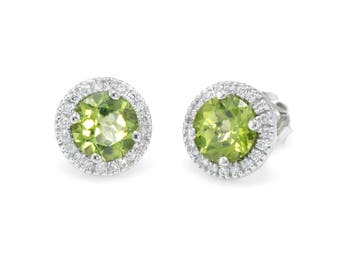 Peridot Diamond Round Halo Stud Earrings Estate 14k White Gold Vintage Jewelry