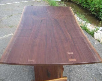 Live Edge Wood Table, Hand Constructed With Reclaimed Wood