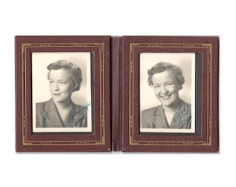 Two vintage photos with love notes in original frame