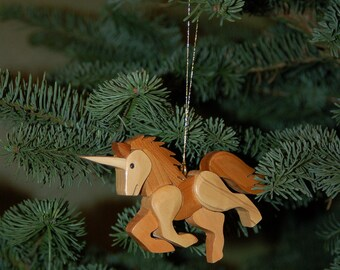UNICORN CHRISTMAS ORNAMENT Intarsia Carving, a lovely unique addition to your holiday tree.