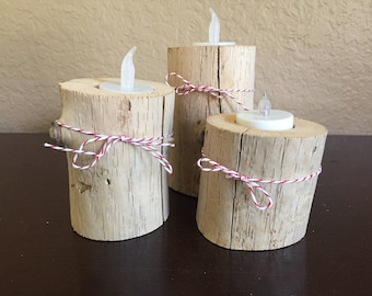 Salvaged, Natural Driftwood Votive Candle Holders - Set of Three