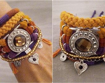 Yellow Purple Bohemian Bracelet Boho Bracelet Set Crystal Bracelet Costume Jewelry Bohemian Style Layering Bracelet Heart Charm