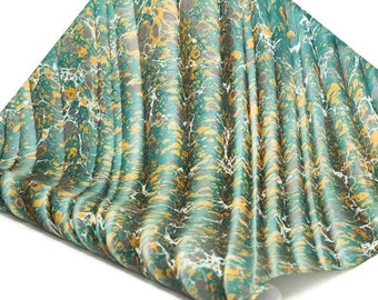 Hand-Marbled Paper Imported From Italy - Stone Wave Pattern - Green/Yellow