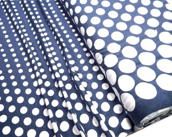 Viskose Jersey white dots from big to small on blue 0.54yd (0,5m)