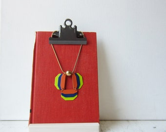 One Petite Clipboard Necklace / Earring Display - Orange Red - Recycled Book Display - Ready to Ship