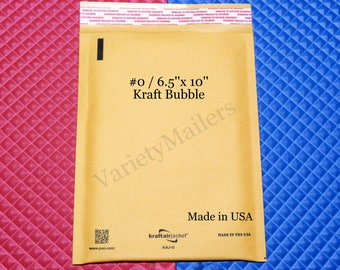 """30 Kraft Bubble Padded Postal Envelope Shipping Mailers  #0 / 6.5""""x 10""""  Self-Sealing ~  Made in the USA ~ Free Shipping!"""
