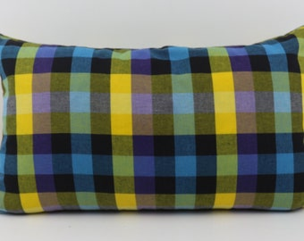 12 x 20 Inches Lumbar Pillow Cover from Colorful Thai Traditional Check Cotton Fabric