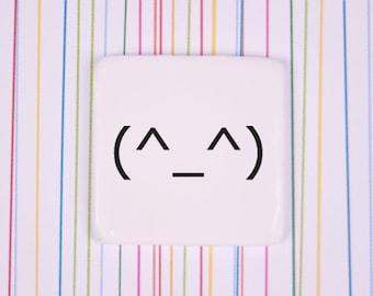 Japanese Emoji Pin Badge, Ceramic Emoticon Badge, Modern Kawaii Badge