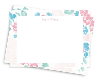 4 x 5.5 Floral Stationery Set of 10 - Thank you, Stationery, Greeting, Floral Print Watercolor  , Illustrated Stationery Box Set