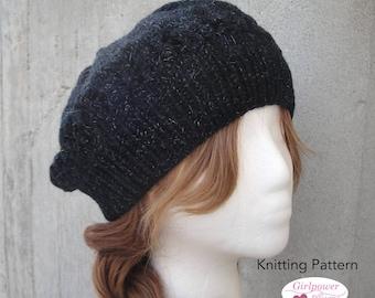 Tam Hat Knitting Pattern, Worsted Yarn, Slouchy Beanie, Easy Knit Hat, Women & Teen Girls, Flower Brim