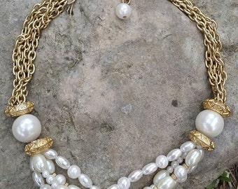 Vintage goldtone strands glass faux beads necklace